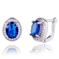 High quality Real platinum Filled Blue AAA+ Cubic Zirconia Street fashion shoot Hoop Earrings dangler For Woman H0056 - V-Shop