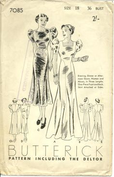 Butterick 7085 | ca. 1936 Evening, Dinner or Afternoon Gown
