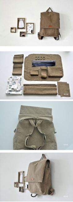 Tendance Sac Description Step To Step Backpack DIY fastmade. - Tendance Sac Description Step To Step Backpack DIY fastmade. Sewing Hacks, Sewing Tutorials, Sewing Projects, Sewing Kits, Free Sewing, Mochila Tutorial, Pretty Backpacks, Diy Backpack, Canvas Backpack