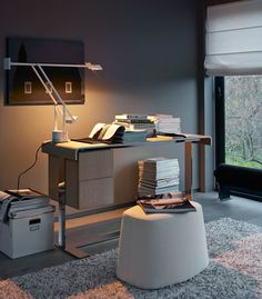 EILEEN Writing Desk by Antonio Citterio for B&B Italia and TIZIO Task Lamp by Richard Sapper for Artemide.