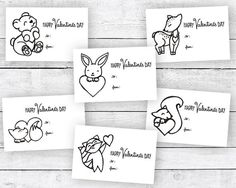 "PRINTABLE COLORING PAGES These printable ""Cute Animals with Hearts"" Valentines Day Cards are perfect for friends, family, students, as well as teachers! These Valentines Day Cards are great for both boys and girls alike, and are sure to bring a smile to everyone's face! With these cards, you have the option of coloring them in yourself, or handing them out blank along with some crayons for the recipient to color in themselves! Either way, this is a fun and hands-on Valentines Day activity…"
