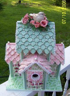 Over All Favorite Winner  EMA for the BIRDS CHALLENGE  Shabby Pink Chic Birdhouse by CMK HANDMADE. $350.00, via Etsy.