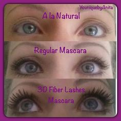 Another satisfied customers before and after pictures. You can see a huge difference between her regular mascara and our 3D Fiber Lashes Mascara!!! Order yours today www.youniqueproducts.com/OpLashBlast