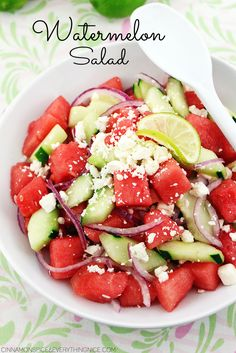 Sweet juicy watermelon chunks tossed with crisp cucumber, bits of salty feta and sharp red onion with a light honey & lime dressing.