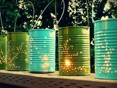 DIY tin can lanterns and other outdoor lighting ideas!