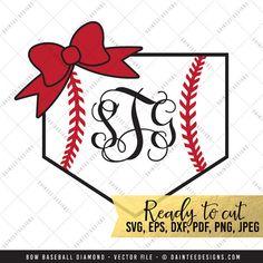 Bow Baseball Diamond Monogram  SVG Vector by DainteeDesignsSVGs