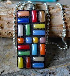 Mosaic Rectangle Pendant, Geometric Mosaic Pendant, Ceramic Mosaic Pendant, Mosaic Jewelry by KateSutcliffeMosaics on Etsy