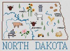 North Dakota Map - Cross Stitch Pattern