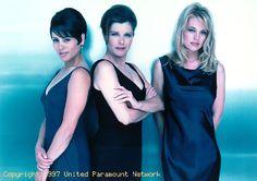 Star Trek Voyager's Roxann Dawson (Lt. B'Elanna Torres), Kate Mulgrew (Captain Kathryn Janeway) and Jeri Ryan (Seven of Nine).