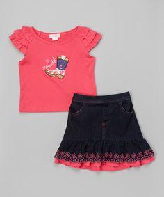 Another great find on #zulily! Pink 'Howdy' Tee & Skirt Set - Toddler & Girls #zulilyfinds
