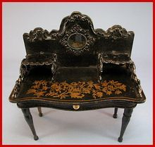 """Antique German Doll House Miniature Wooden Desk in the Boulle Style with Metal Trim by Gerhard Söhlke Early Victorian Large 1"""" Scale Dollhouse Furniture"""