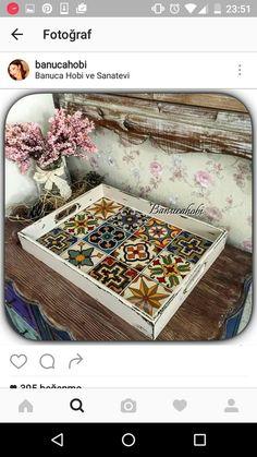 Decorative Tile, Decorative Boxes, Ramadan Gifts, Spanish Tile, Wooden Diy, Lorraine, Resin Crafts, Bingo, Painting On Wood