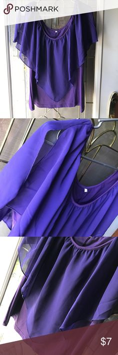 Purple Blouse This adorable purple blouse is brand new and never worn. Has a sheer top with split sleeves and a solid camisole underneath. Size states XXL fits more like an XL! Comes from a smoke & pet free home, no stains or rips! Tops Blouses