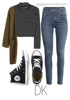 """Casual City Date // DK"" by suga-infires ❤ liked on Polyvore featuring Converse and H&M"