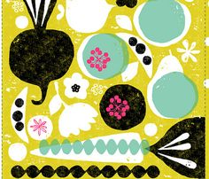 fruit and veggie, by ottomanbrim, print, pattern, veg, colour, retro, texture, illustration, collage, screen print, printmaking