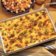Bob Evan's Recipes: Sunrise Squares.  My favorite breakfast casserole.  I sub 1 cup of the milk for heavy cream - makes a huge difference in texture.