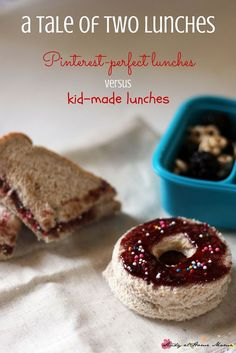 A tale of two lunches: two moms debate on the merits of the Pinterest Perfect Lunch box ideas, and kid-made lunches.