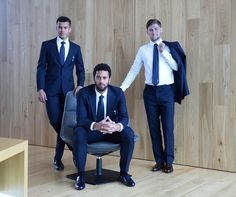 Dele Alli, Mousa Dembélé and Ben Davies in their Aquascutum suits.