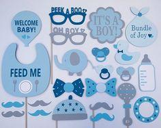 Muchacho bebé ducha partido Props / Baby Boy Photo Booth Props / partido del bebé / niño foto atrezzo / armada / 23 pc