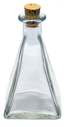 Clear Glass Pyramid Bottle with #5 Cork - $.85 ea (1-47)