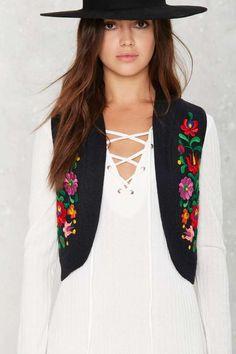 Vintage Bangin' Bloom Emrboidered Wool Vest #vintage #NastyGal