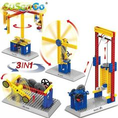 Mechanical Engineer Building Blocks Teaching Toys 3 in 1 Windmill Carousel Elevator Toys Compatible with Lego