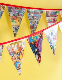 cut out comic book triangles and hang