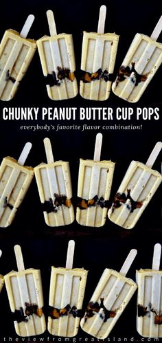 These Chunky Peanut Butter Cup Pudding Popsicles are so utterly creamy, there's not a hint of iciness about them! Kid Desserts, Frozen Desserts, Frozen Treats, Dessert Recipes, Chunky Peanut Butter, Reeses Peanut Butter, Easy Ice Cream Recipe, Ice Cream Recipes, Peanut M&ms