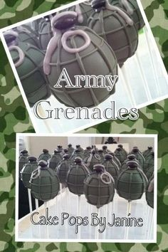 Cake Pops by Janine... She did an amazing job on my brother-in-laws army themed pops!