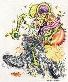 JOHNNY ACE Ed BIG DADDY Roth RAT FINK Original Art MONSTER Trike Kustom Chopper! #JohnnyAceStudiosEdBIGDADDYRoth