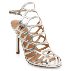 Women's Kylea Caged Heel Gladiator Pumps with Straps - Silver 8.5