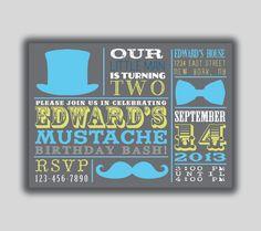 Little Man Mustache Birthday Party Bash Invitation