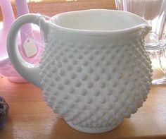 Fenton Milk Glass Hobnail Jug