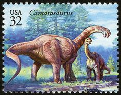 The Camarasaurus was the most common of the giant sauropods to be found in North America. Copyright United States Postal Service. All rights reserved.