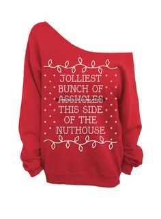 Or this one @Nancy Thompson Ugly Christmas Sweater  Red Slouchy CREW  Jolliest by DentzDesign, $29.00