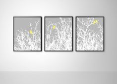 Birds on Tree Branches Triptych - Set of 3 Art Prints - Gray, White, & – BySamantha
