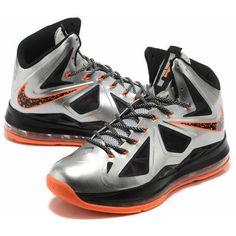 2012 New Lebron 10 Silver/Black/Orange Basketball shoes AML-113 via Polyvore