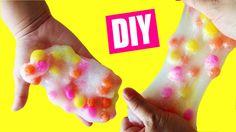 How To Make Glitter 'Snow' Slime with Pompoms DIY Slime No Borax No Liqu...