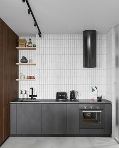 Classy Charcoal & Brown Apartment Interior Under 80 Sqm, With Layout Modern Apartment Design, Apartment Interior, Modern Interior, Latest Kitchen Designs, Modern Kitchen Design, Contemporary Dining Sets, Contemporary Furniture, Black Bedside Cabinets, Black Marble Bathroom