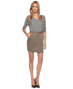 Business casual!  Love the relaxed feel of the cotton gray with the warm mossy green with the accent camel skinny belt. Pumps are cute, strappy gladiator wedge sandals would mix well too!