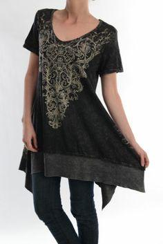 ac88fc217db Vocal Plus Size Fleur De Lis Crystals Tunic Shirt Top Western Sexy 1X 2X 3X