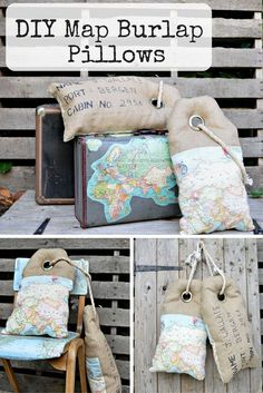cool Luggage Tag Map Burlap Pillows