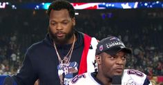 Seattle Seahawks defensive end Michael Bennett joins his brother New England Patriots tight end Martellus Bennett on set after winning Super Bowl LI.