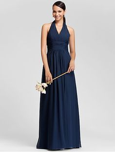 Directsale Bridesmaid Dress Floor Length Chiffon Sheath Column Halter Dress  Free Measurement