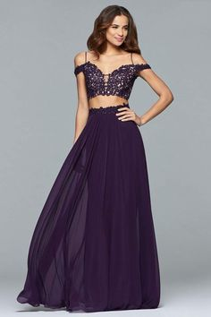 Be remarkable and go in our edgy Faviana prom dresses. FAVIANA 10045 purple two-piece mesh dress with lace applique bodice and lace-up back Grad Dresses Short, Prom Dresses Two Piece, Two Piece Dress, Dresses For Teens, Homecoming Dresses, Formal Dresses, Dance Dresses, Pageant Dresses, Wedding Dresses