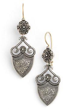 Konstantino 'Silver Classics' Shield Drop Earrings
