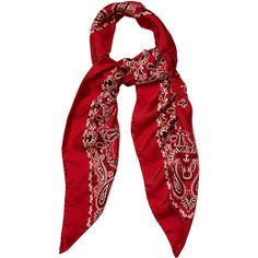 Saint Laurent Bandana-print silk-twill scarf (1,295 SAR) ❤ liked on Polyvore featuring accessories, scarves, black and white scarves, black and white bandana, red scarves, red handkerchief and yves saint laurent