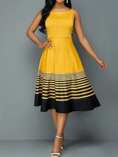 This yellow dress with the Stripe Print Round Neck High Waist Dress is stunning! The perfect party dress! African Fashion Dresses, African Dress, Dress Fashion, Fashion Outfits, Yellow Dress, Striped Dress, Yellow Summer Dresses, Spring Dresses, Blue Dresses