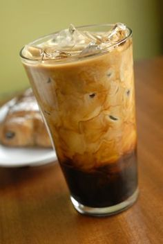 Iced Vanilla Latte (Tip:  Use coffee to make ice cubes so you don't water down your drink.)