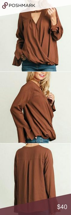"""Tali surplice keyhole blouse- cocoa Surplice Top with Keyhole Neckline. **Choker necklace not included** *HEIGHT OF MODEL: 5'8"""" / SIZE: SMALL Daily Chic Tops Blouses"""